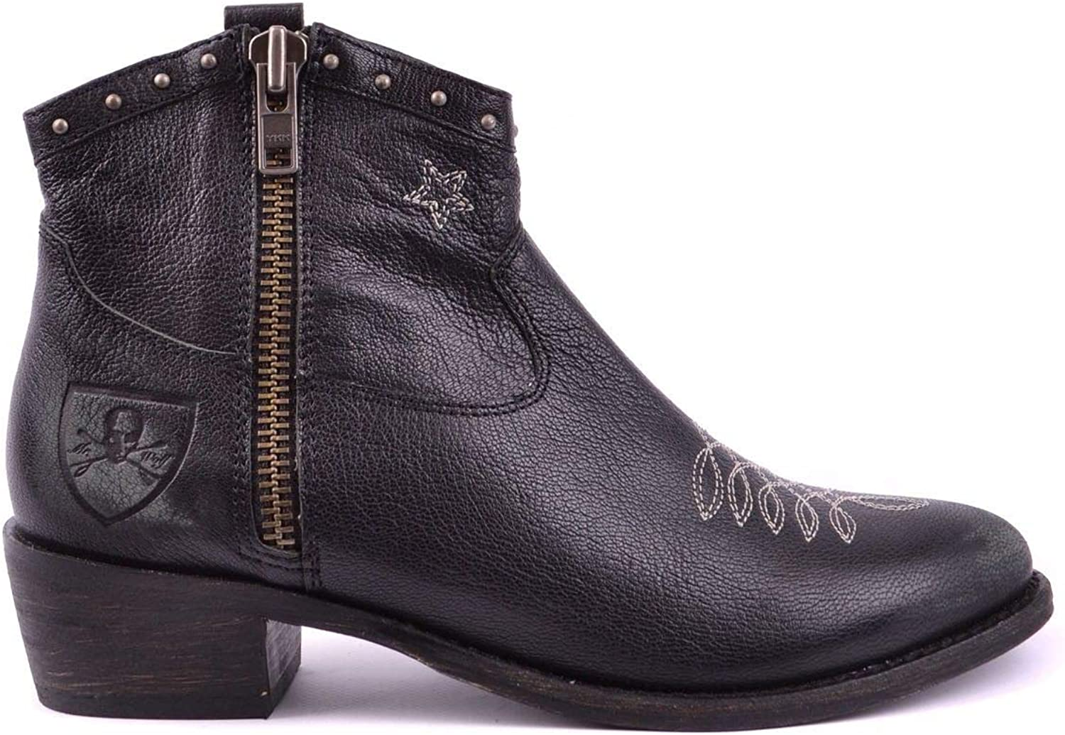 MR. WOLF Women's MCBI17606 Black Leather Ankle Boots