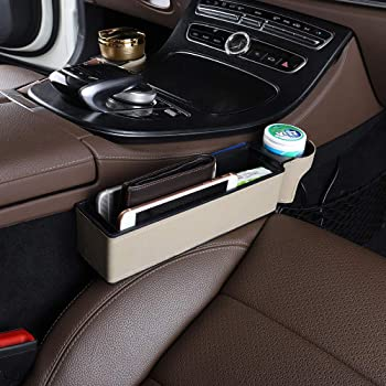 Holding Phone Cup Holder Wallet Premium PU Leather Console Side Filler Organizer Pocket for Car Accessories Interior Car Seat Gap Storage Box Seat Gap Filler with Cup Holder