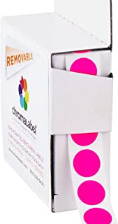 ChromaLabel 1/2 inch Removable Color-Code Dot Labels | 1,000/Dispenser Box (Fluorescent Pink)