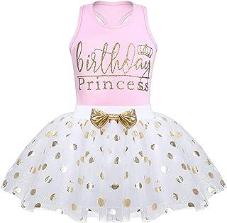 Toddler Kids Baby Girls Outfits Brithday Princess Vest Sleeveless Top +Dot Bubble Skirt Summer