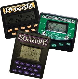 3 in 1 Gambling Handheld Video Game Pack - Solitaire Handheld Game - Blackjack Handheld Game - Poker Handheld Game
