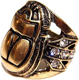 Egyptian Revival Inspired Scarab Beetle Cocktail Ring with Clear Glass Rhinestones US Size 7