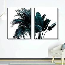 Posters & Prints 2 Stks/set Groene Bladeren Patroon Decoratieve Schilderij Woonkamer Bank Achtergrond Muur Slaapkamer Muur...