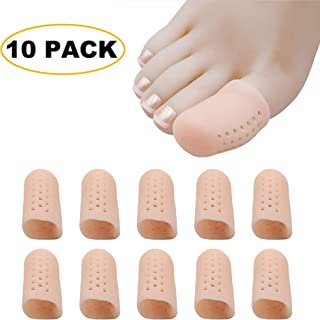 ERGOfoot Gel Toe Caps Protector-Breathable Cushions Prevents Callus Relieve Pain from Corns, Blisters, Hammer Toes Bunion Pain Relief (Large/10 PCS/Beige)