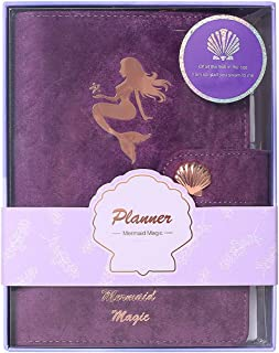 Multibey A6 Purple Flannel Hardcover Rose Gold Mermaid Planner Scrapbook Traveler Notebook Stationery DIY Journal Diary Agenda Refillable Spiral Book Gift Set for Teen Girls Students Women