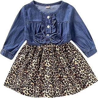 Camidy Kids Toddler Girl Ruffled Button Leopard Print Long Sleeve Denim Cotton Dress