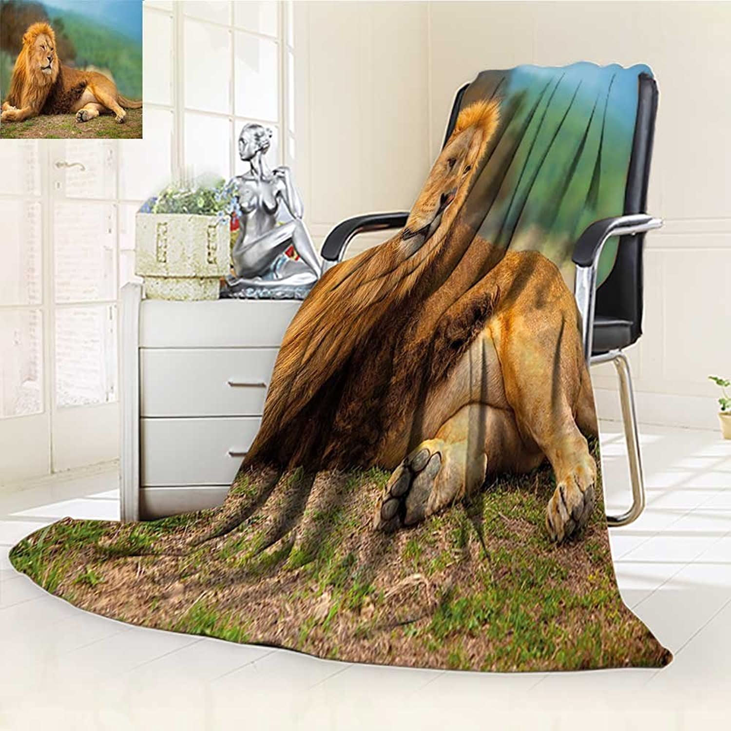 YOYI-HOME Digital Printing Duplex Printed Blanket Lion Lying and Resting on The Top of The Mountain Digital Print Light Coffee and Fern Green Summer Quilt Comforter  W59 x H39.5