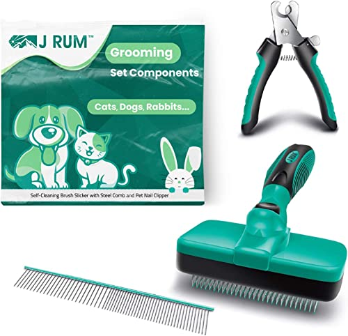 J RUM™ Pet Supplies Grooming Brush, Dog and Cat Hair Remover Self Cleaning Slicker, Nail Clipper and Steel Comb, 3 in...