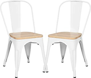Poly and Bark Trattoria Kitchen and Dining Metal Side Chair with Oak Wood Seat in White (Set of 2)