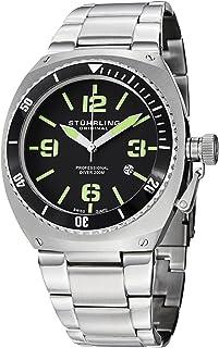 Stuhrling Original Men's 410.331171 Aquadiver Regatta DSV Swiss Quartz Diver Date Green Accent Stainless Steel Bracelet Watch