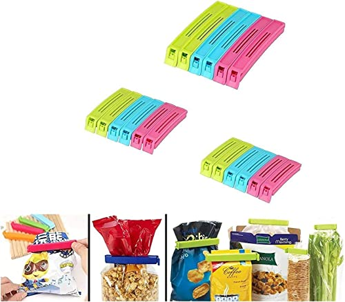 Perfect Pricee Plastic Food Snack Bag Pouch Clip Sealer for Keeping Fresh for Home Kitchen Camping Multicolour Set of 18