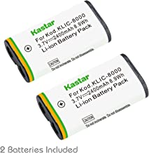 Kastar Li-ion Battery 2 Packs Replacement for Kodak KLIC-8000 K8000 and Kodak Z612, Z712 IS, Z812 IS, Z1012 IS, Z1015 IS, Z1085 IS, Z1485 IS, Z8612 IS Camera