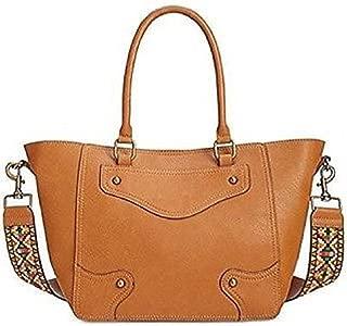 INC Womens Sonng Faux Leather Embroidered Satchel Fashionable Handbag Saddle Large