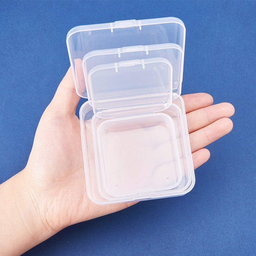 BENECREAT 27 Pack Mixed Size Mini Clear Plastic Bead Storage Containers Box Case With Lid For Items,Pills,Herbs,Tiny Bead,Jewerlry Findings, And Other Small Items Square Square - 3 Mixed Size