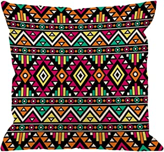 HGOD DESIGNS Boho Pillow Covers,Decorative Throw Pillow Bright Colored Boho Chic Style Abstract with Aztec Ornament Ethnic Pillow cases Cotton Linen Cushion Covers For Home Sofa couch 18x18 inch
