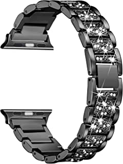 Secbolt Bling Bands Compatible with Apple Watch Band 42mm 44mm iwatch Series 4 3 2 1, Metal Rhinestone Bling Replacement Wristband, Black