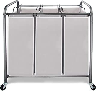 STORAGE MANIAC Laundry Sorter 3 Section with Rolling Lockable Casters, Laundry Hamper Cart for Clothes Storage, Gray