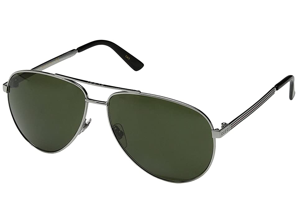 Gucci GG0137S (Ruthenium/Green) Fashion Sunglasses