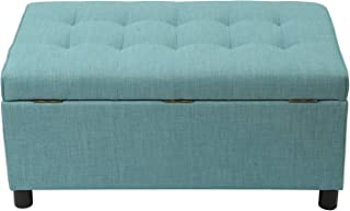 Adeco FT0280 Fabric Sturdy Design Rectangular Tufted Lift Top Storage Bench Footstool with Solid Wood Legs Ottoman, Princess Blue-1