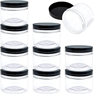 SGHUO 10 Pack 10Oz Clear Empty Slime Storage Containers with Water-Tight Lids, Plastic Slime Jars with Stickers