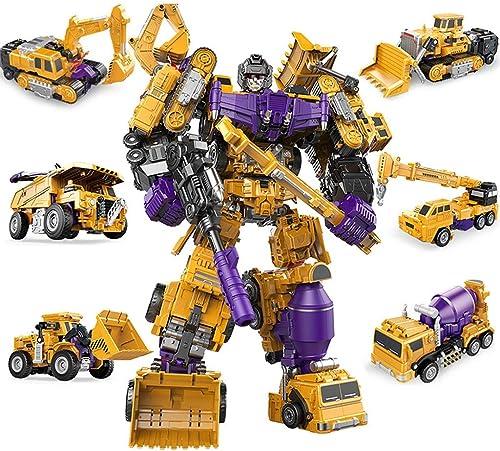 DNSJB Transformateurs de véhicule de série de transformateurs d'ingénierie de Jouet pour Enfants modèle de Robot Six en Un Ensemble Jouet modèle Cadeau (Couleur   Six-in-One Set B)