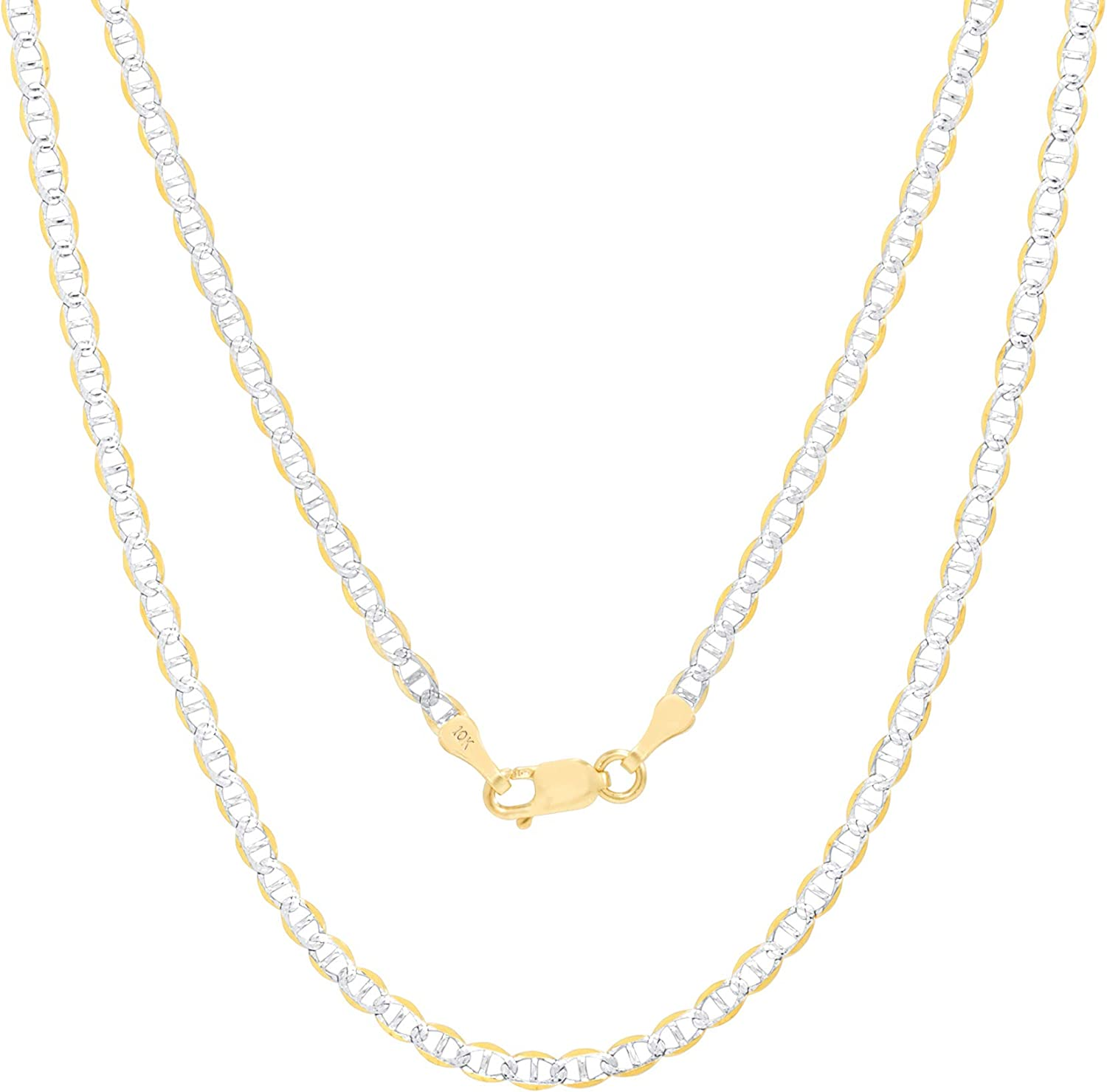 Nuragold 10k Yellow Gold 2.5mm Solid Mariner Anchor Link Chain Diamond Cut Two Tone Pave Pendant Necklace, Womens Mens Lobster Lock 16