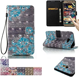 Galaxy A5 2017 Case, Firefish [Kickstand] [Card/Cash Slots] Flip Cover Impact Dispersion Wallet with Wrist Strap for Samsung Galaxy A5 (2017) -Blue Flower