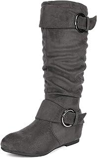 3cf082f77035 DREAM PAIRS Women s Knee High Low Hidden Wedge Boots (Wide-Calf)