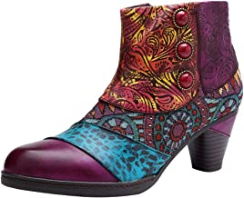 Mordenmiss Women's Bohemian Ankle Boots Handmade Vintage Chunky Heel Leather Bootie with Zipper