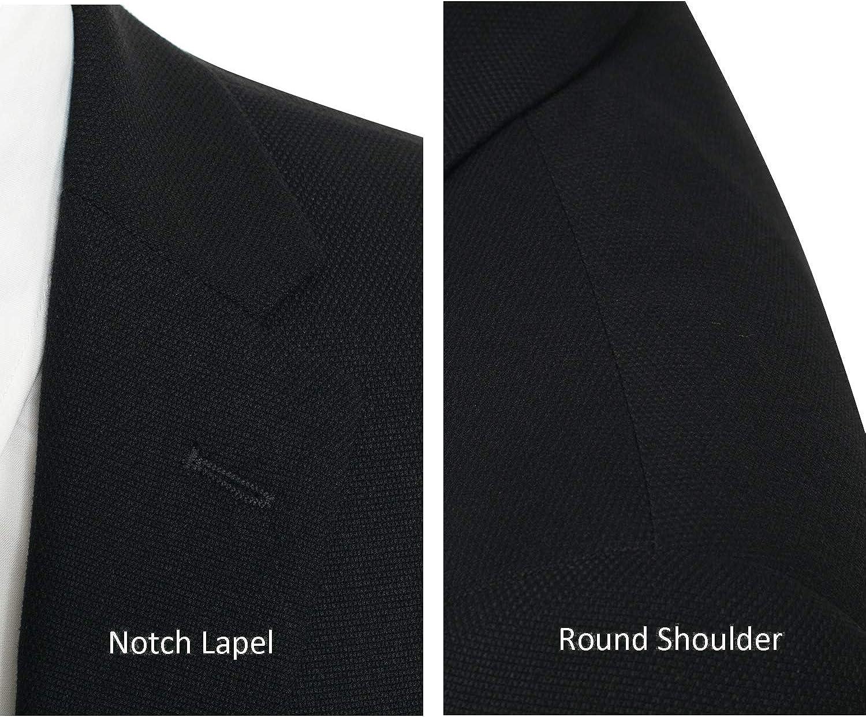 P&L Pierre Loren Men's Classic Fit Two-Button Stretch Blazer Suit Separate Jacket Black