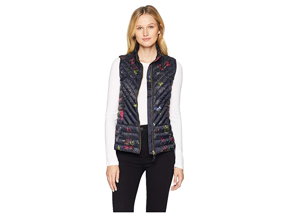 Joules Brindly Printed Chevron Quilted Vest (Black Woodland Floral) Women