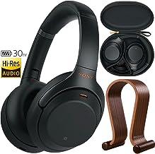 Sony WH1000XM3/B Premium Noise Cancelling Wireless Headphones w/Microphone (Black) + Wood Headphone Stand + Headphone Case