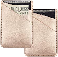 uCOLOR Two Pack Phone Card Holder PU Leather Rose Gold Wallet Pocket Credit Card ID Case Pouch 3M Adhesive Sticker on Phone Samsung Galaxy Android Smartphones(fit for 4.7