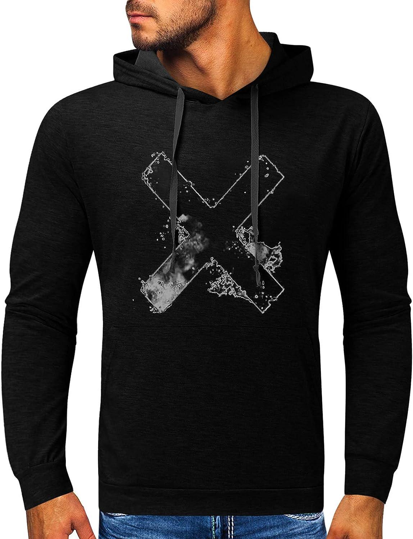 BEUU Halloween Hoodies for Mens, Funny Skull Street Faith Jesus Cross Hooded Sweatshirts Athletic Basic Casual Pullover
