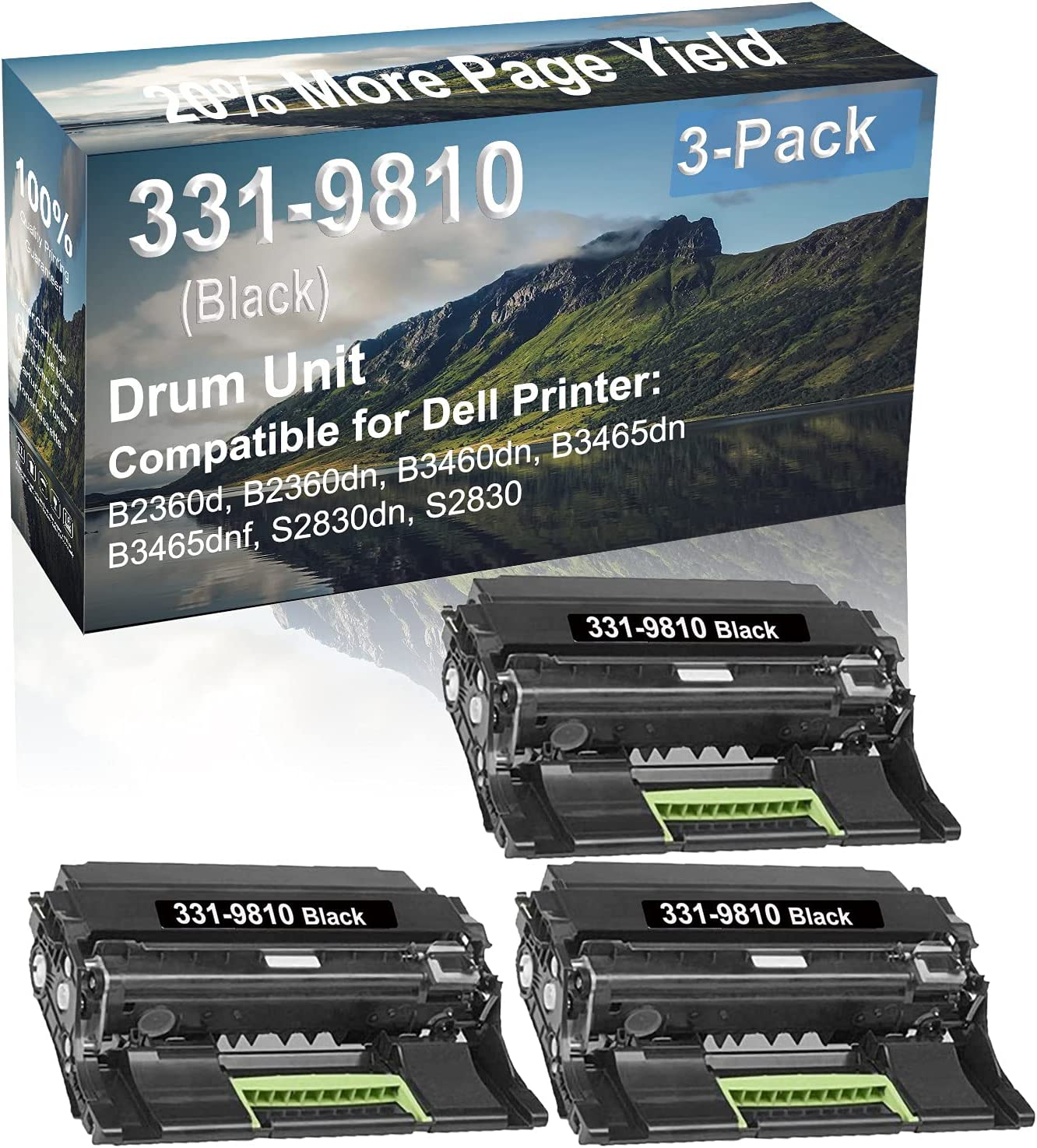 3-Pack Compatible Drum Unit (Black) Replacement for Dell 331-9810 Drum Kit use for Dell B3465dnf, S2830dn, S2830 Printer