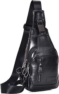 Men's Leather Sling Bag Chest Bag One Shoulder Bag Crossbody Bag Backpack