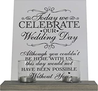 """LifeSong Milestones Loss of Mother, Father, Child, Parents Loved Ones Memorial Sympathy Candle 8"""" x 10"""" Acrylic Bereavement Sign Gray with Wood Base (Wedding)"""
