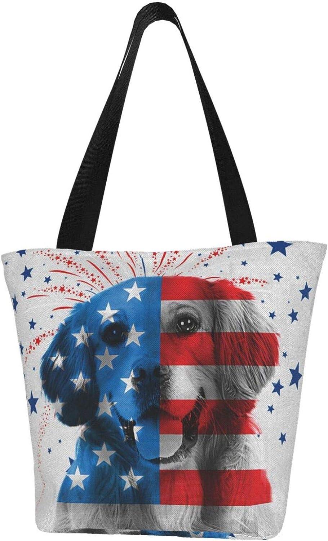 American Usa Golden Retriever Dog Themed Printed Women Canvas Handbag Zipper Shoulder Bag Work Booksbag Tote Purse Leisure Hobo Bag For Shopping