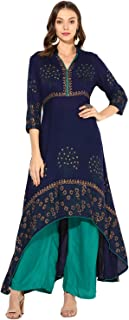Zoeyam's Women Navy Blue Rayon Block Prints A-Line Anarkali Kurti With Rama Green Rayon Palazzo sets