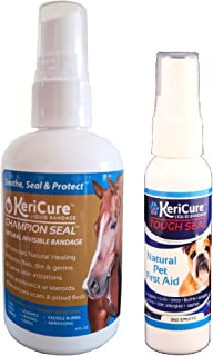 KeriCure Tough Seal for Pets and Champion Seal for Horses Spray on Wound Barrier Combo Pack, 2 Pack, Spray on Bandage for Pets and Horses, Large and Small Animal Spray on Wound Barrier, Sting Free