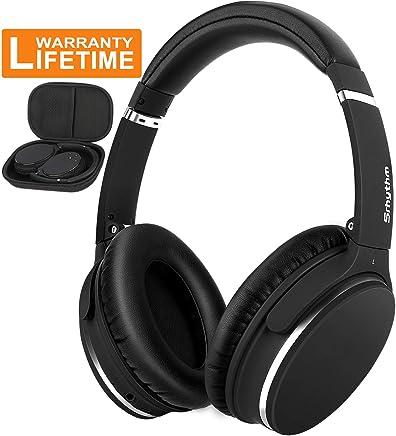 Inalámbrico Auriculares de cancelación de ruido activa más de oreja, srhythm plegable graves profundos estéreo de alta fidelidad auricular Bluetooth con micrófono y modo de cable para TV, PC, teléfonos celulares (16h de reproducción, baja latencia)