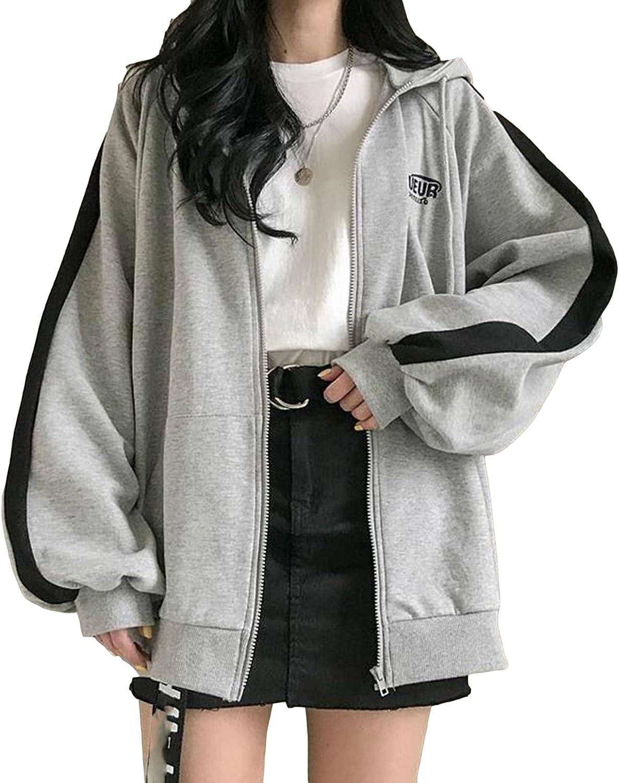 Womens Zip Up Hoodie And Sweatshirt Y2K Black Jacket Cute Tops For Teen Girls