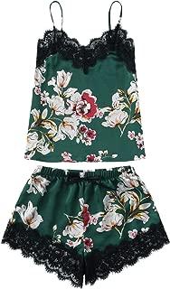 Women's Lace Satin Sleepwear Cami Top and Shorts Pajama Set