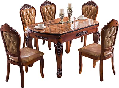Dining Table, Marble Telescopic Dining Table with Turntable, Solid Wood Carved Foldable Round Dining Table, Kitchen Furniture Without Chair,135x135x76cm