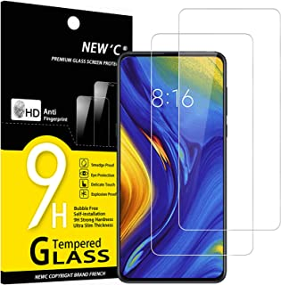 NEW'C 2-pack skärmskydd med Xiaomi Mi Mix 3 – Härdat glas HD klar 9H hårdhet bubbelfritt