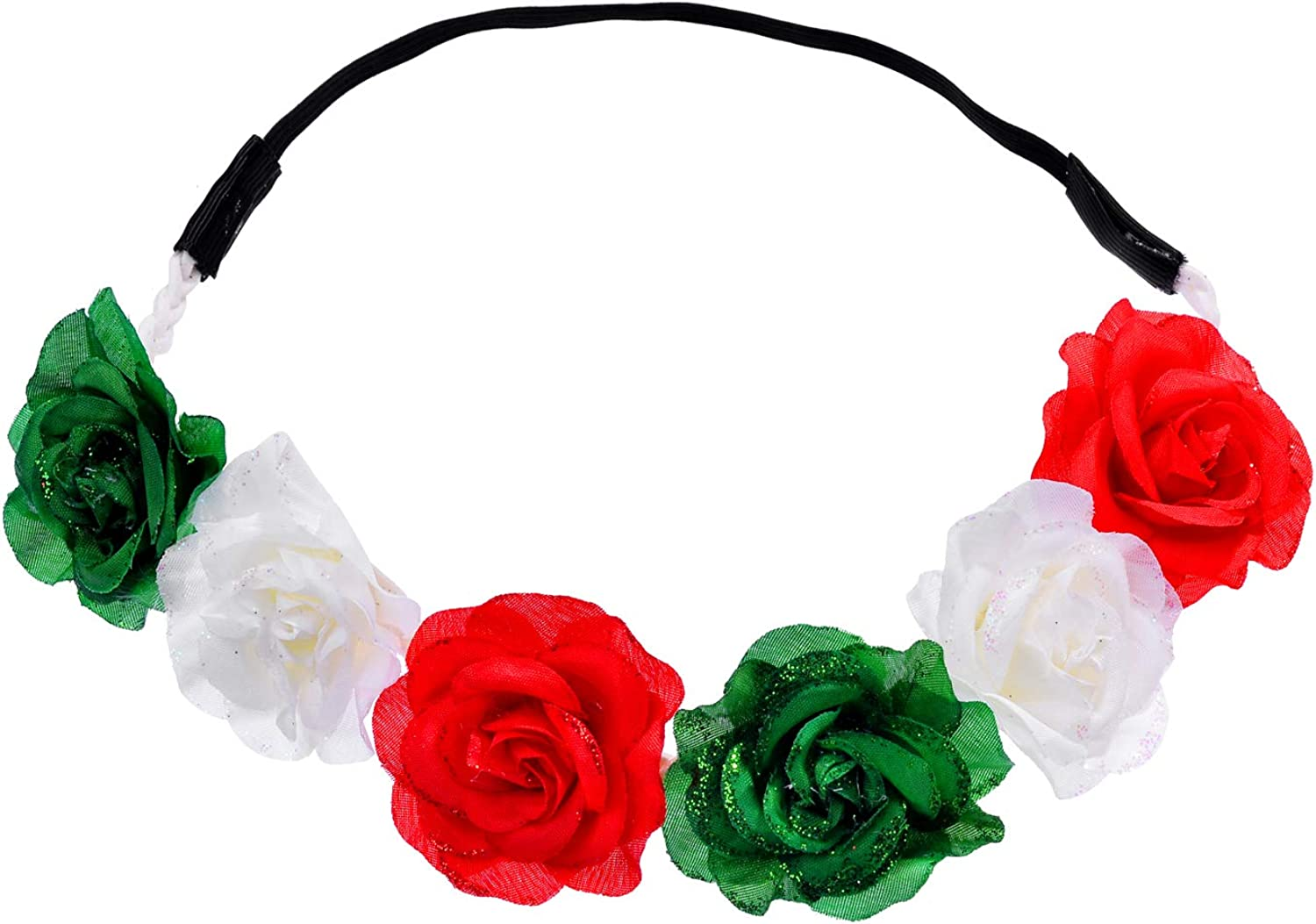 Lux Accessories Christmas Red White Glittery Green Holiday Floral Stretch Fashion Headband