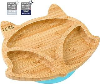 Plato de succión para bebés y niños con forma de zorro, plato de bambú natural azul azul