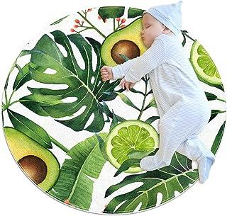 Avokado och blad, barn rund matta polyester överkast matta mjuk pedagogisk tvättbar matta barnkammare tipi tält lekmatta