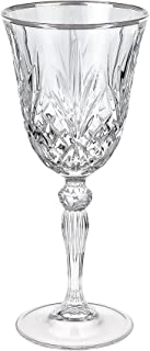 Lorren Home Trends Dynasty Collection Crystal Red Wine Glass with Silver Band, Set of 6