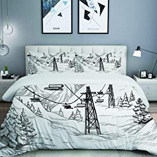 DAOPUDA Ski Lift with Fir Trees Monochrome Seasonal Holiday Destination Themed Sketch Home Bedding Decorative Custom Design 3 PC Duvet Cover Set King